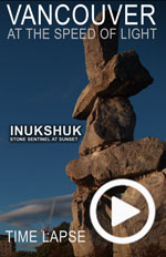 A time lapse photo video of the Inukshuk on the Vancouver Seawall during Sunset